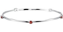 Genuine Sterling Silver Garnet Stackable Bracelet