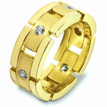 Designer 14 Karat Yellow Gold Link Style Unique Diamond Wedding Band Ring