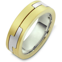 14 Karat Two-Tone Gold Unique Designer Wedding Band Ring