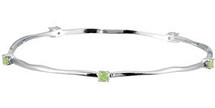 Genuine Sterling Silver Peridot Stackable Bracelet
