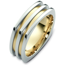 Designer 14 Karat Two-Tone Gold Square Style Wedding Band Ring