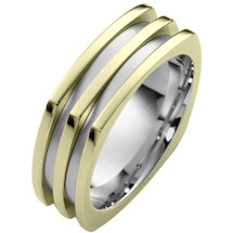 Designer 14 Karat Two-Tone Gold Square Style Comfort Fit Wedding Band Ring