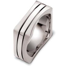 14 Karat Designer White Gold Square Style Wedding Band Ring
