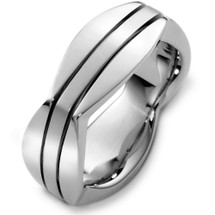 Unique 14 Karat White Gold High Polish Wedding Band Ring