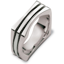 Designer 14 Karat White Gold Square Rope Style Wedding Band Ring