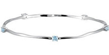 Genuine Sterling Silver Blue Topaz Stackable Bracelets