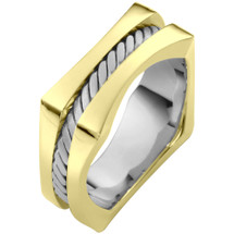 Two-Tone 14 Karat Gold Square and Rope Style Comfort Fit Wedding Band Ring