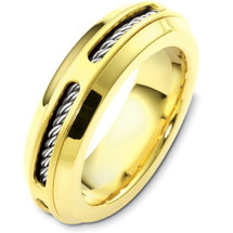 Designer 14 Karat Two-Tone Gold Inner Rope Style Unique Wedding Band Ring