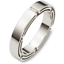 4.5mm Link Style 14 Karat White Gold Wedding Band Ring