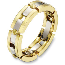 6mm 14 Karat Two-Tone Gold Link Style Wedding Band Ring