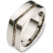 8.5mm 14 Karat Tri-Color Square Style Wedding Band Ring