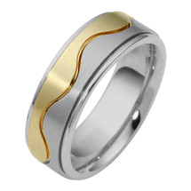 6.5mm Wave Style 14 Karat Two-Tone Gold Comfort Fit Wedding Band Ring