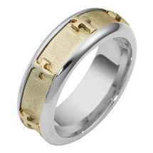14 Karat Two-Tone Gold Unique SPINNING Religious Cross Ring