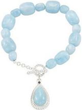 Genuine Sterling Silver Aquamarine & Sapphire Bracelet