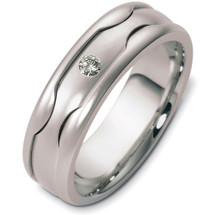 Unique 14 Karat White Gold Solitaire Designer Wedding Band Ring