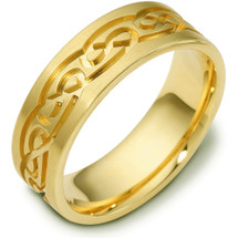 Designer 14 Karat Yellow Gold Celtic Comfort Fit Wedding Band Ring