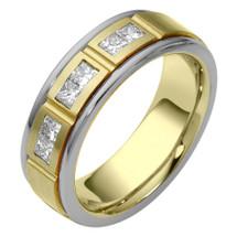 6.5mm Diamond Two-Tone 14 Karat Gold Comfort Fit Wedding Band Ring