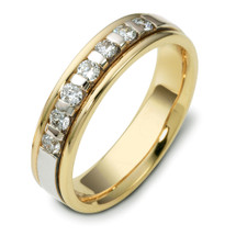 14 Karat Two-Tone Gold Designer Diamond Wedding Band Ring