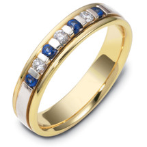 14 Karat Two-Tone Gold Designer Diamond & Sapphire Band Ring