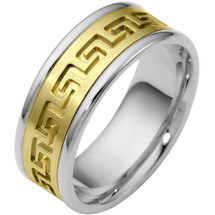 8mm Multi Texture 14 Karat Two-Tone Gold Comfort Fit Wedding Band Ring