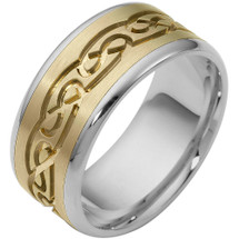 9.5mm Multi Texture Two-Tone 14 Karat Gold Comfort Fit Wedding Band Ring