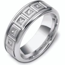Designer 5 Diamond 14 Karat White Gold Wedding Band Ring