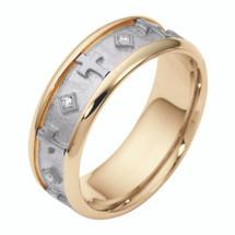 7mm 14 Karat Two-Tone Gold Religious Cross Diamond Comfort Fit Wedding Band Ring