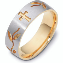 Designer 14 Karat Multi Texture Two-Tone Religious Cross Band Ring