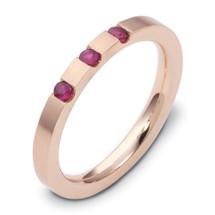 14 Karat Rose Gold Stackable Ruby Band Ring