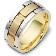 Designer 14 Karat Two-Tone Gold Link Style Wedding Band Ring