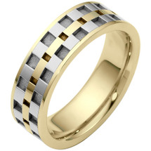 7mm Link Style Two-Tone 14 Karat Gold Comfort Fit Wedding Band Ring