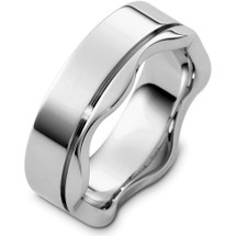 Designer 14 Karat White Gold Wave Style Wedding Band Ring
