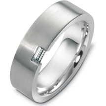 Designer 14 Karat White Gold Diamond Baguette Wedding Band Ring