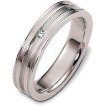 Designer 14 Karat White Gold Solitaire Diamond Wedding Band Ring