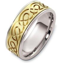 14 Karat Designer Two-Tone Gold Celtic Wedding Band Ring