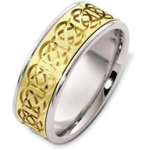 Designer 14 Karat Celtic Two-Tone Gold Wedding Band Ring