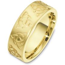7.5mm 14 Karat Yellow Gold Wedding Band Ring