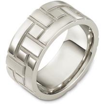 10mm 14 Karat White Gold Multi Texture Wedding Band Ring