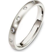 Designer 3mm 14 Karat White Gold Diamond Wedding Band Ring