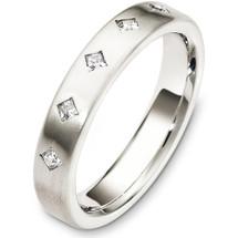 4mm 14 Karat White Gold Diamond Wedding Band Ring