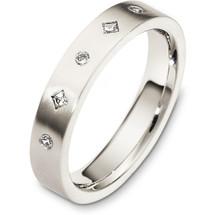 4mm 14 Karat Diamond White Gold Wedding Band Ring