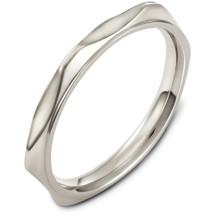 3mm 14 Karat White Gold Multi Texture Wedding Band Ring