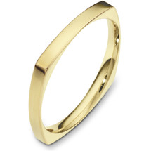 2.5mm Square Style 14 Karat Yellow Gold Wedding Band Ring