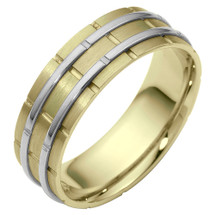 7mm Designer Link Style Two-Tone 14 Karat Gold Wedding Band Ring
