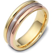 6.5mm 14 Karat Tri-Color Gold Plain Wedding Band Ring