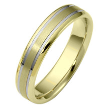 Traditional Style 5mm 14 Karat Two-Tone Gold Comfort Fit Wedding Band Ring