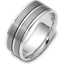 6mm Titanium & 14 Karat White Gold Detailed Wedding Band Ring