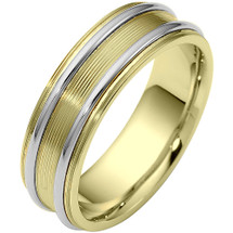 Designer Two-Tone 14 Karat Gold 6.5mm Wedding Band Ring