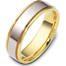 Flat Style 6.5mm Two-Tone 14 Karat Gold Comfort Fit Wedding Band Ring