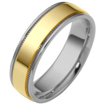 6.5mm Flat Style Two-Tone 14 Karat Gold Comfort Fit Wedding Band Ring
